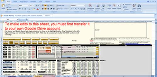 pathfinder excel sheet 5th version
